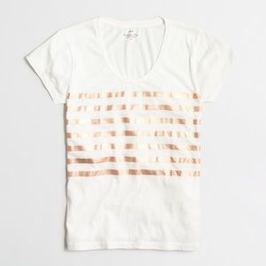 J. Crew Metallic Striped Collector Tee